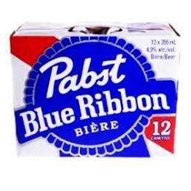 Bière Pabst Blue Ribbon 4.9%alc 12 Canettes 355 mL