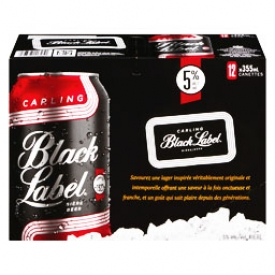Bière Carling Black Label 5%alc 12 Canettes 355 mL