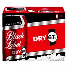 Bière Carling Black Label Dry 6.1%alc 12 Canettes 355 mL