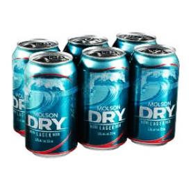 Bière Molson Dry 5.5%alc 6 Canettes 355 mL