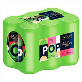 Bière Poppers Melon D'eau 5%alc 6 Canettes 355 mL