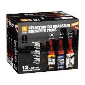 Bière Sélection du Brasseur 4 GriffinTown-5%alc_4 YorkTown-5.2%alc_4 VanDerbull-4.5%alc 12 Bouteilles 341 mL