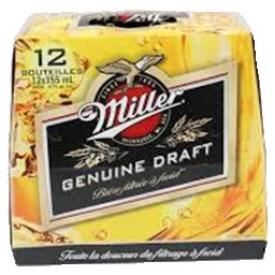 Bière Miller Genuine Draft 4.7%alc 12 Bouteilles 355 mL