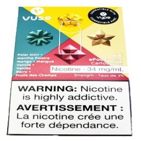 Cartouches 4x Saveur:Manthe Polaire-Mangue-Vanille-Fruits des Champs 3% de Nicotine