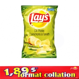 Chips Format Collation Lays Cornichons à l'aneth 66g
