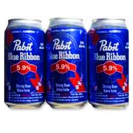 Bière Pabst Blue Ribbon 5.9%alc 6 Canettes 355 mL